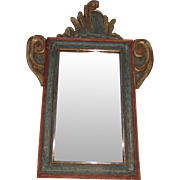 Late 17th Century Italian or Spanish Painted and Gilded Frame with Mirror
