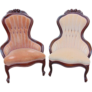 Pair of Victorian Walnut Armchairs