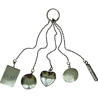 Victorian Sterling Silver Five Chain Chatelaine with Accessories