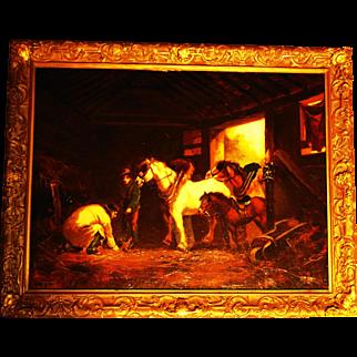 Morland School Painting of Barn Interior