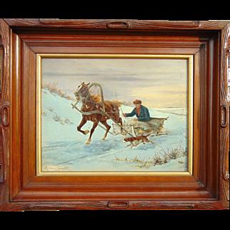 Winter Scene with Horse Sled by Alfred Wierusz-Kowalski