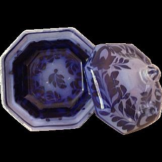 Hexagonal Stoneware Blue Glaze Covered Serving Dish