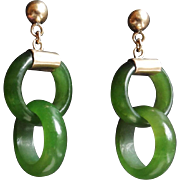 Vintage Chinese 10k Translucent Green Devil's Work Jade Earrings Pierced Ears