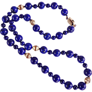 Superb Royal Blue Lapis Lazuli Necklace Large 10 mm Beads 21 Inches Length