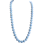 Translucent Chinese 13 mm Blue Jadeite Necklace Gold Vermeil Clasp 27 Inches Long