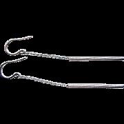14k White Gold Chain Bar Earrings