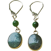 Vintage Petite Oval 14k Gold Green Jade Earrings