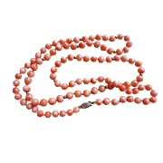 Vintage 14k Angel Skin Coral Necklace 31 Inches Length