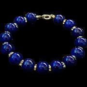 Vintage 14k Lapis Lazuli Bracelet Crystal Spacers