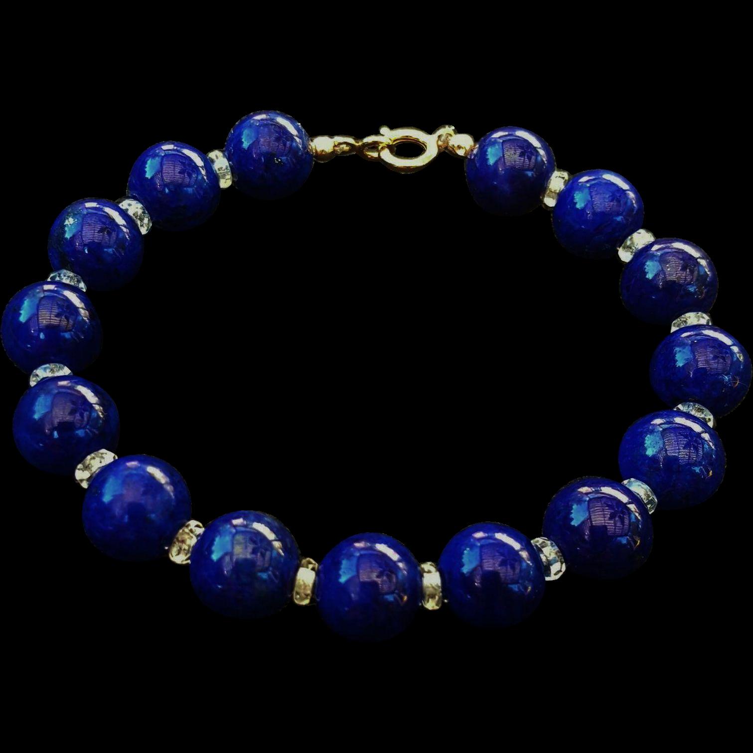 vintage 14k lapis lazuli bracelet crystal spacers from jools4u on ruby lane. Black Bedroom Furniture Sets. Home Design Ideas
