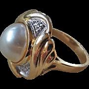 Vintage 14k White Mabe Pearl 9 Diamond Ring