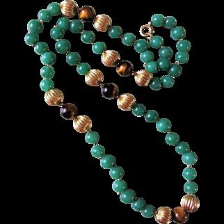 "Vintage 14k Gold Imperial Green Aventurine Tiger' s Eye Necklace 14k Chain 28"" Length"