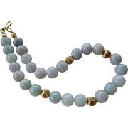 Vintage  Large Hand Carved Pastel Green White 14mm Jadeite Necklace Gold Vermeil Beads Clasp