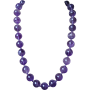 "Vintage Translucent Amethyst Round 5/8"" Beads Necklace Gold Vermeil Clasp"