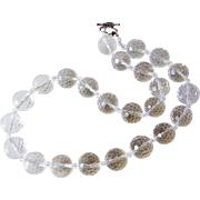 Transparent Faceted 16mm Rock Crystal Quartz Necklace Sterling Clasp