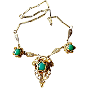 Antique Victorian 1800's Renaissance Revival Brass Chrysoprase Colored Glass Cabochon Necklace