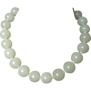 "Vintage Chinese White 18mm Jade Necklace 19"" Length Gold Vermeil Clasp"