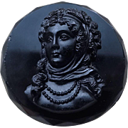 Antique Victorian Black Glass Mourning Brooch Pin
