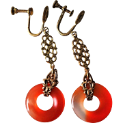 1920's Art Deco Chinese Vintage Hand Carved Carnelian Earrings