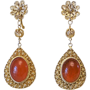 Vintage 1920's Chinese Export Art Deco Red Carnelian Gold Vermeil Filigree Earrings