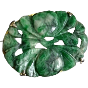 Chinese 1920's Art Deco Hand Carved Green Jade Brooch
