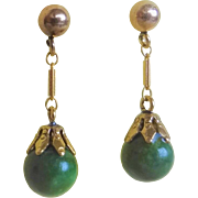 Vintage Art Deco 1920's 14k  Green Nephrite Jade Earrings Pierced Ears