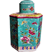 Vintage 1930's Chinese Export Polychrome Enamel Porcelain Tea Caddy