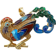 1940's Vintage Chinese Export Sterling Silver Gold Gilt Mesh Enameled Bird of Paradise Brooch Pendant
