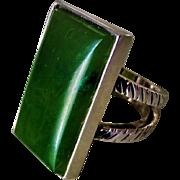 Dark Green Jade Sterling Silver Ladies Ring Size 6