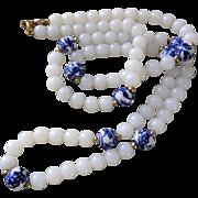 "Crown Trifari Copyright 1955-1969 White Milk Glass Blue White Painted Porcelain Necklace 30"""