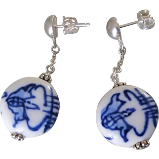 Vintage 1960's Chinese Hand Painted Bats White Porcelain Sterling Silver Earrings