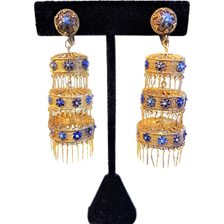 Antique Chinese Export Fine Silver Gilt Lantern Filigree Chandelier Earrings