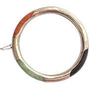Vintage 1960's Chinese Export Jadeite Sterling Silver Bracelet