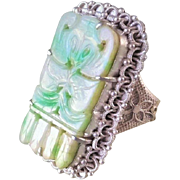 Vintage Chinese Export Art Deco Carved Bat Apple Green Jadeite Sterling Filigree Ring 1.5 Inches long S