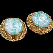 Vintage Chinese Art Deco Apple Green Jadeite Sterling Vermeil Filigree Clip On Earrings