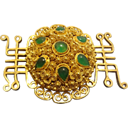 Chinese Export Emerald Green Chrysoprase Filigree Gold Vermeil Brooch Pin