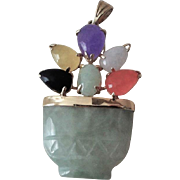 Vintage Chinese  Export 1970's 14k Green Jadeite Flower Basket Pendant