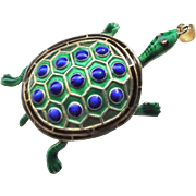 Vintage 1900's Chinese Export Articulated Enamel Vermeil Sterling Turtle Pendant