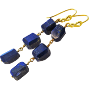 Lapis Lazuli Gold Vermeil Sterling Earrings Pierced Ears