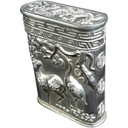 Antique 19thC. Canton Chinese Export 900 Silver Opium Box Signed