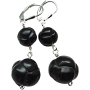 Hand Carved Chinese Knot Whitby Jet Sterling Silver Earrings