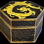 Vintage Chinese Export 20thC. Dragon Cloisonne Hexagonal Box