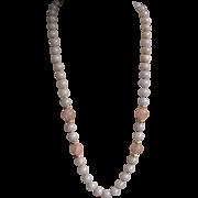 Vintage 1970's Lavender Jadeite Amethyst Shou Carved Sterling Necklace