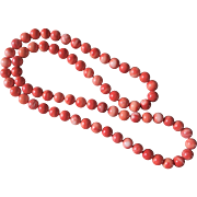 "Red Momo Coral Necklace 10 mm Beads 31"" Length 110.8 grams"
