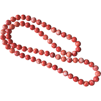 """Red Momo Coral Necklace 10 mm Beads 31"""" Length 110.8 grams"""