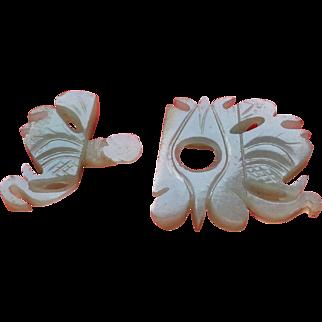Antique Chinese  Carved White Jade Moth Two Piece Interlocking Belt Buckle