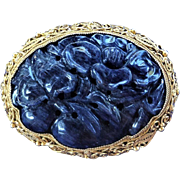 Chinese Art Deco Huge Hand Carved Lapis Lazuli Sterling Vermeil Filigree Brooch Pin