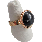 Vintage Chinese 1970's Dark Blue Tiger's Eye Sterling Vermeil Ring Size 6.5