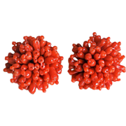 "1950's Mediterranean Red Coral 1"" Round Earrings"