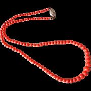 Antique Victorian c.1880s Salmon Coral Necklace 14k Clasp